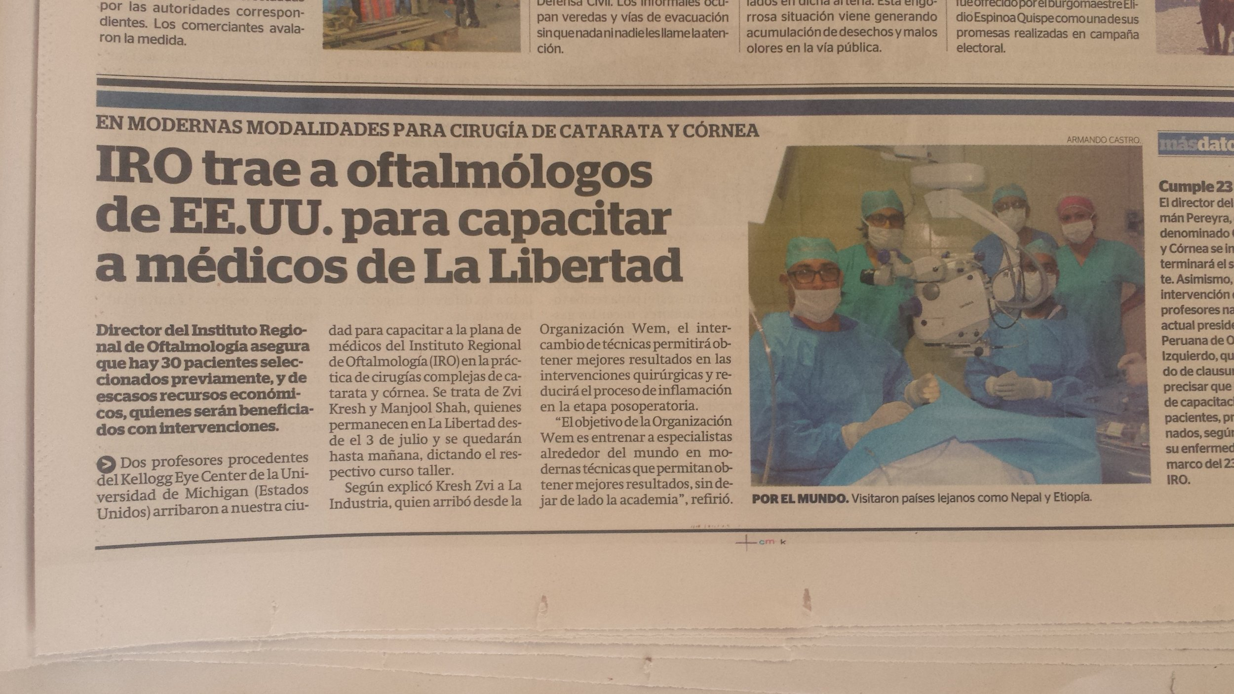 Article about Dr. Manjool Shah and Dr. Zvi Kresch visit to IRO