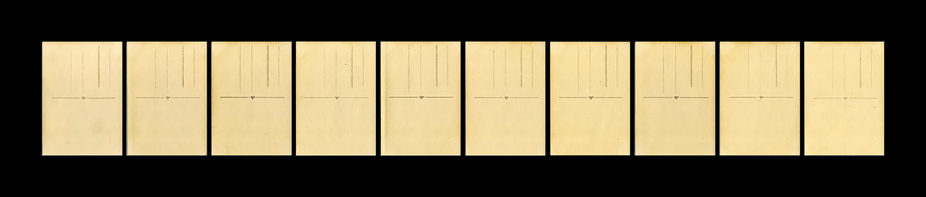 Title: Ten able-bodied adult males scanned from the rear.   Dimensions: 47 x 10 inches