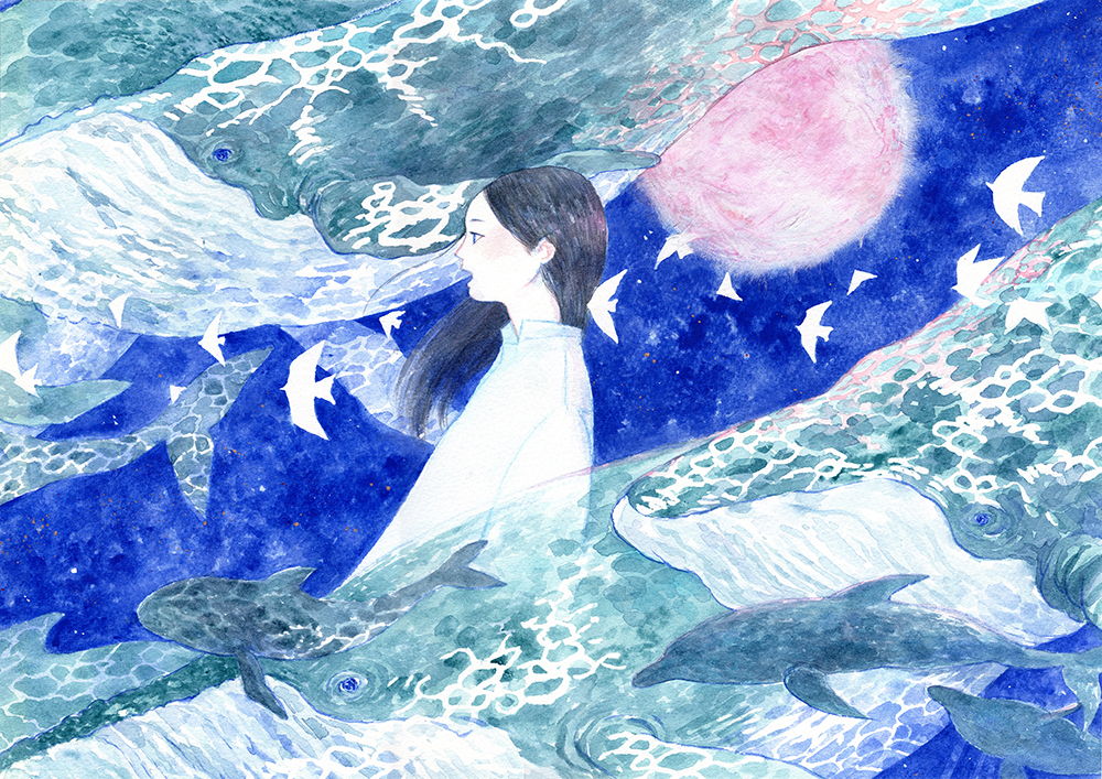 BLUE -a song of whales Ⅰ.-  ターナー色彩株式会社様の作例として制作させていただきました。 海外向けホームページにアーティスト作品としてご紹介いただいています。  I draw this as an example by Turner Color Co., Ltd.  This is published on the homepage for English.   https://www.turner.co.jp/english/