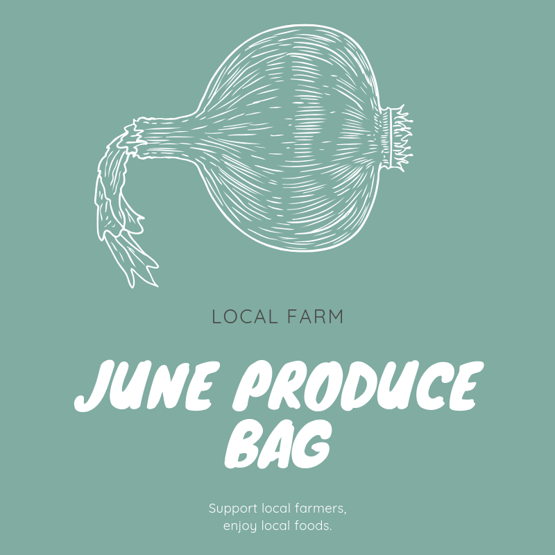 June Produce Bag   $45.00   In June, the Topsail Produce Bag will contain enough fresh produce to feed a family of four at least three servings of fruit and vegetables for the week. Listed below are the types of fruit and vegetables typically included in a June produce bag; however, the actual contents of your bag will vary depending on each week's harvest.   Summer and zucchini squash    Blueberries    Garlic    White potatoes    Blackberries    Green beans    Sweet potatoes    Herbs and cucumbers    Onions and scallions    Greenhouse lettuces   Each customer vacationing in Topsail Island during the month of June may order one or more bags of produce.