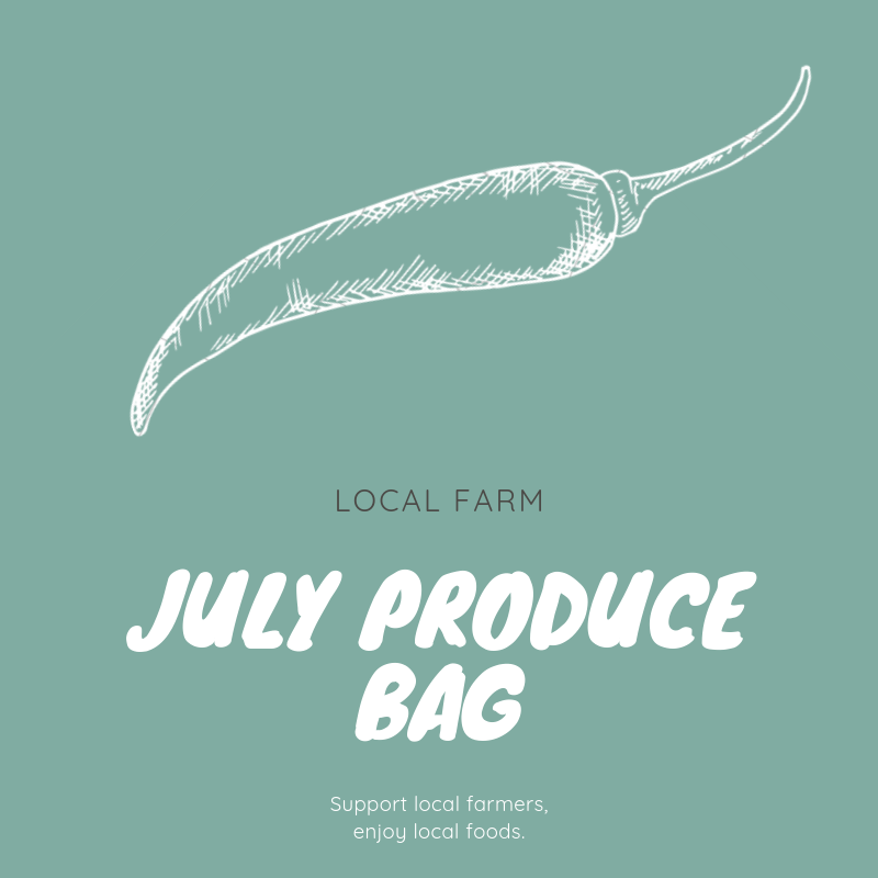 July Produce Bag   $45.00   In July, the Topsail Produce Bag will contain enough fresh produce to feed a family of four at least three servings of fruit and vegetables for the week. Listed below are the types of fruit and vegetables typically included in a July produce bag; however, the actual contents of your bag will vary depending on each week's harvest.   Summer and zucchini squash    Blueberries    Okra    Tomatoes    Blackberries    Sweet corn    Herbs and cucumbers    Green beans    Peaches and grapes    Peppers   Each customer vacationing in Topsail Island during the month of July may order one or more bags of produce.