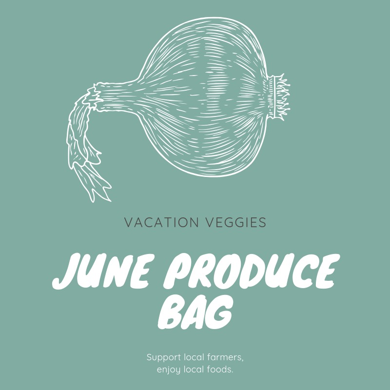 June Produce Bag   $49.00   In June, the Vacation Veggies Produce Bag will contain enough fresh produce to feed a family of four at least three servings of fruit and vegetables for the week. Listed below are the types of fruit and vegetables typically included in a June produce bag; however, the actual contents of your bag will vary depending on each week's harvest.   Summer and zucchini squash    Blueberries    Garlic    White potatoes    Blackberries    Green beans    Sweet potatoes    Herbs and cucumbers    Onions and scallions    Greenhouse lettuces   Each customer vacationing in Wrightsville Beach during the month of June may order one or more bags of produce.