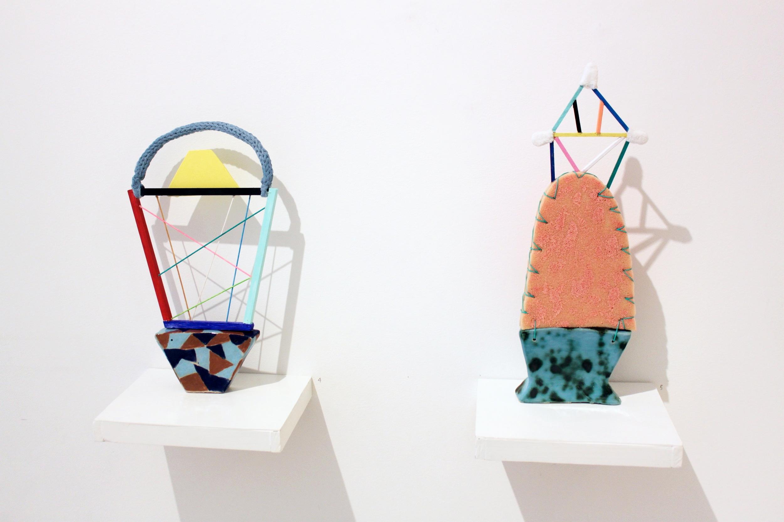 """Inner connections"" Ceramics, wood, yarn, wire. 46 x 26 x6 cm. 2016 ""Original"" Ceramics, wood, foam, mason cord, textile. 54 x 19 x 6 cm. 2016.""Originals"" Galerie Pi. 2016"