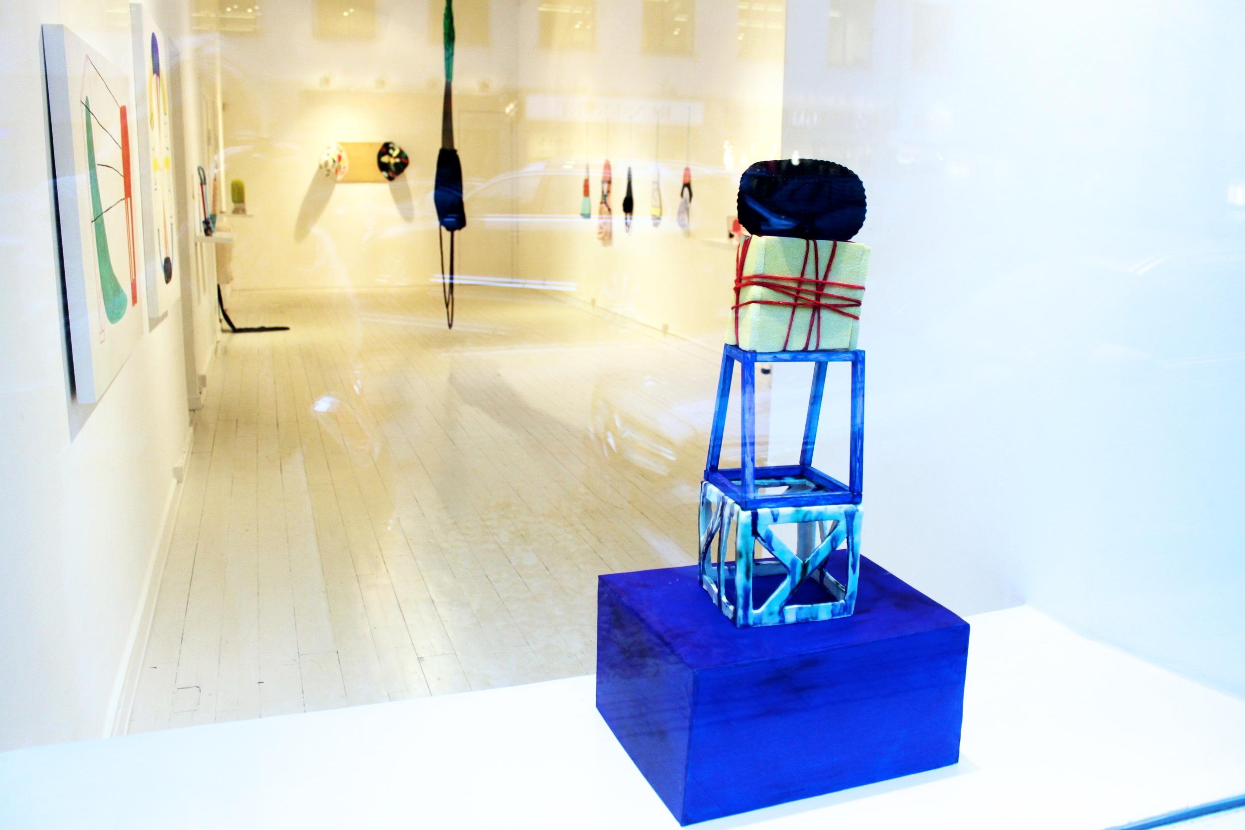 """Tower of inner power"" Ceramics, wood, foam, knitwork, yarn. 54 x 17 x 18 cm. 2016.Originals"" Galerie Pi. 2016"