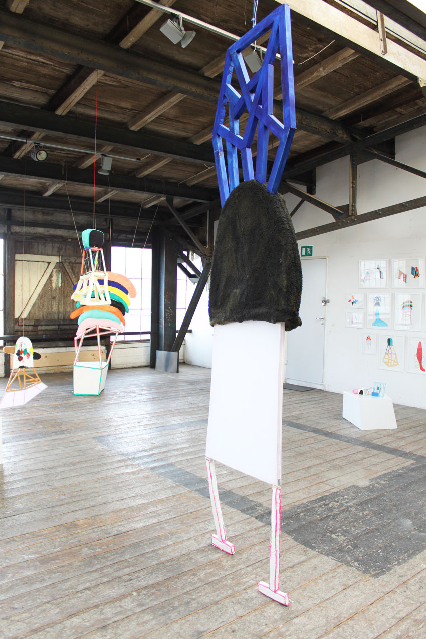 """""""Creature"""" 303 x 83 x 8 cm. Wodden laths, textiles, painted stuffed canvas, acrylic paint.""""Combined Creatures -from drawing to sculpture.""""YARD PRC ROOM 2013 -"""