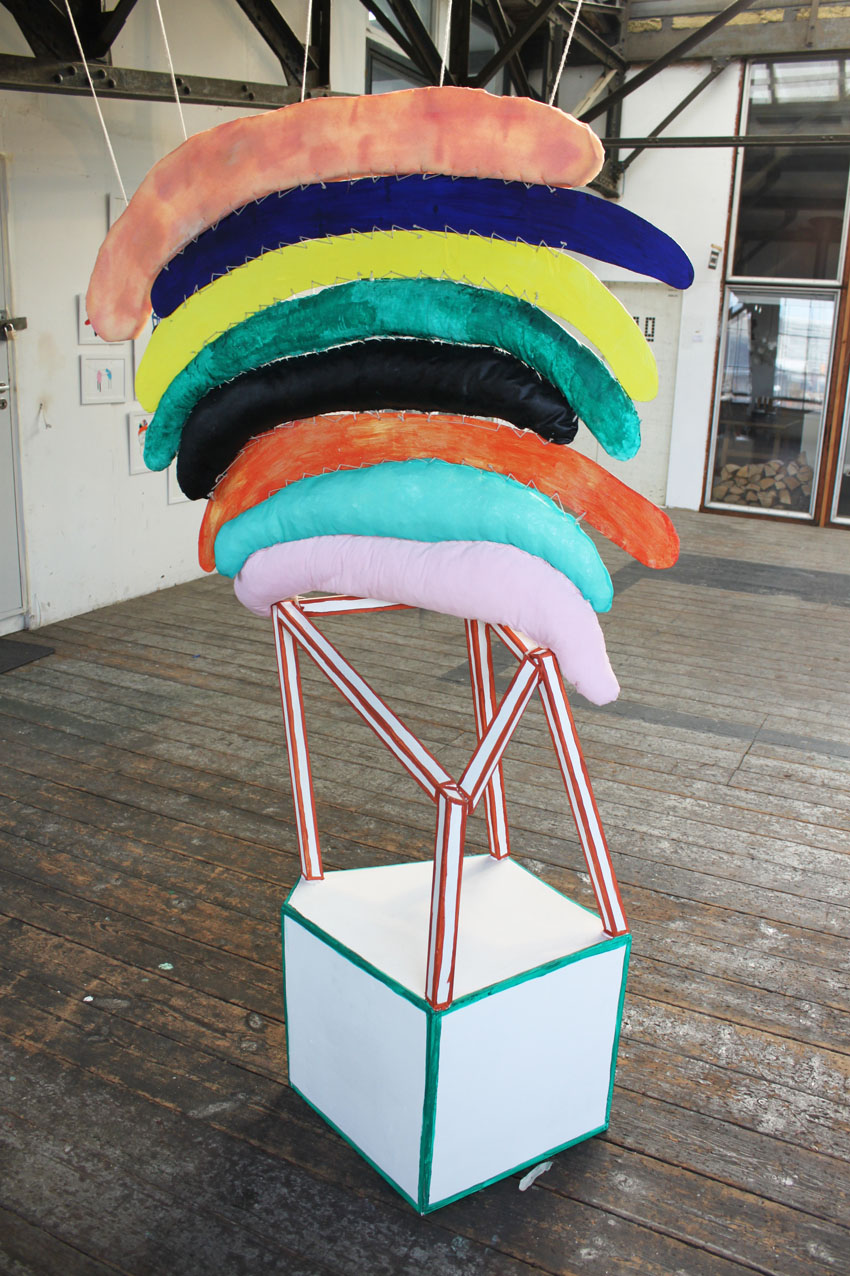 """""""I hold on to happiness"""" 190 x 97 x 67 cm. Wodden laths, textiles, painted stuffed canvas, acrylic paint, wooden boards, foam, yarn, stuffing.""""Combined Creatures -from drawing to sculpture.""""YARD PRC ROOM 2013 -"""