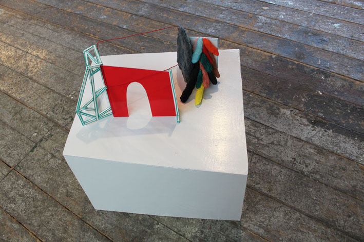 """""""Entrance""""58 x 23 x 22 cm. Textiles, plexiglas, wooden sticks, acrylic paint, wire, wood, yarn, stuffing.""""Combined Creatures -from drawing to sculpture.""""YARD PRC ROOM 2013 -"""