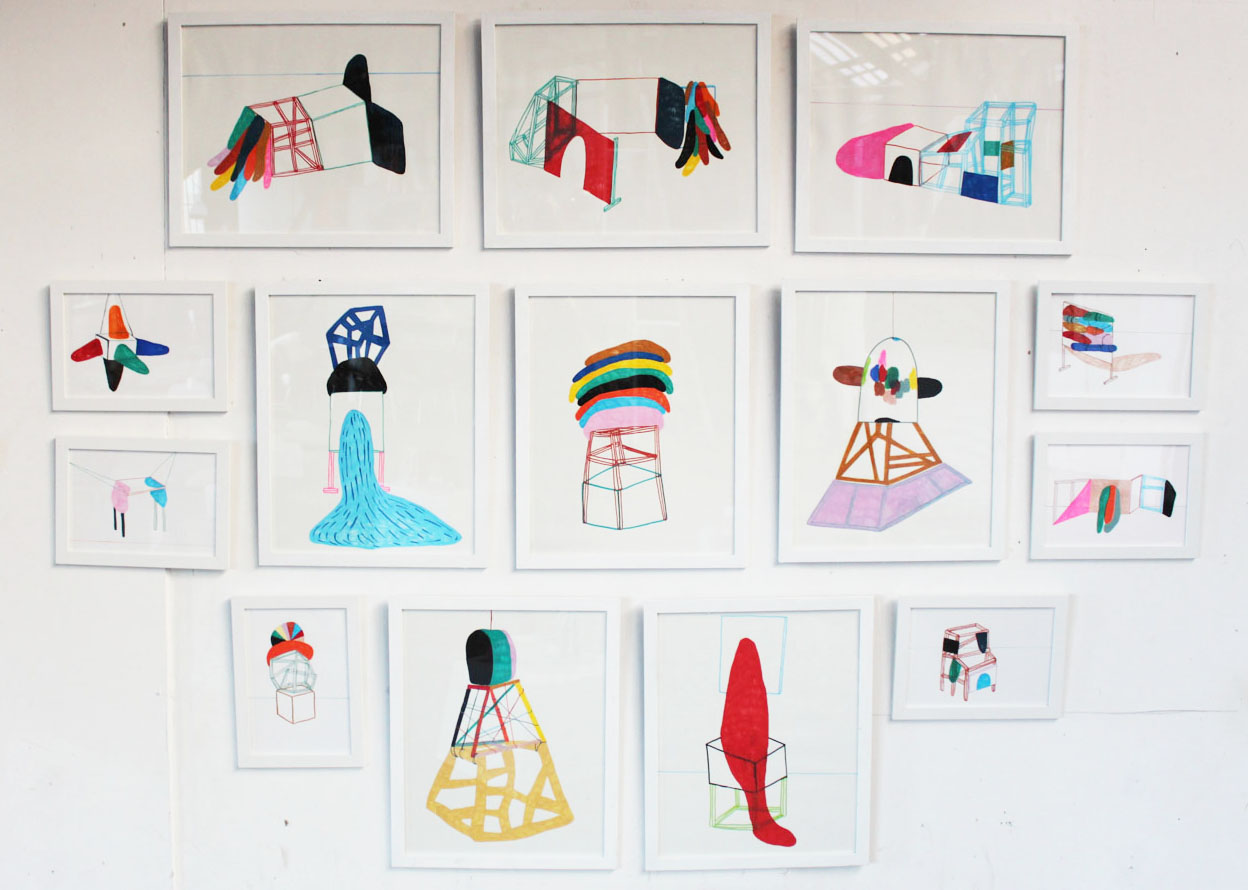 """Wall of drawings.""""Combined Creatures -from drawing to sculpture.""""YARD PRC ROOM 2013 -"""