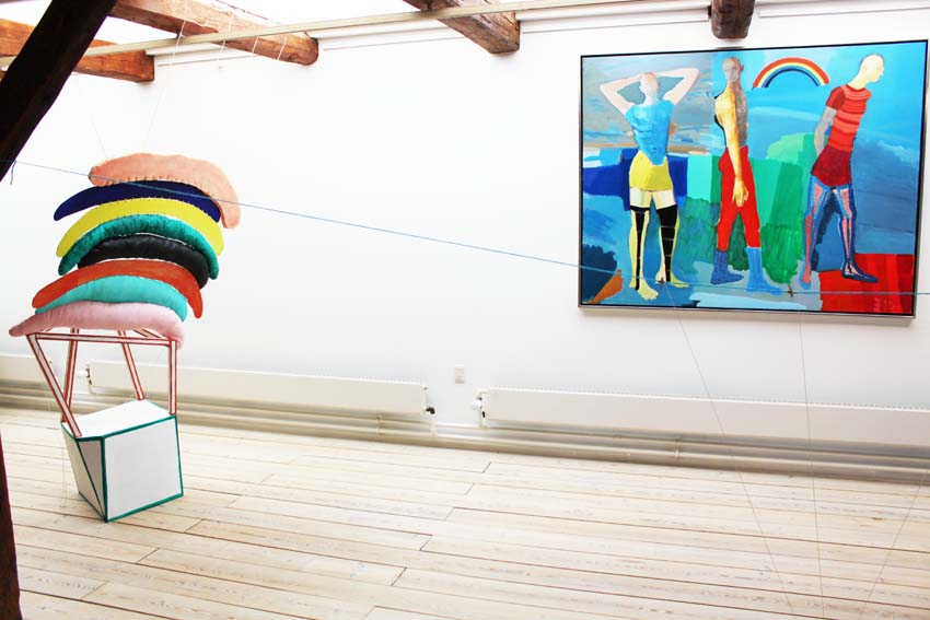 """Marie J. Engelsvold: """"I hold on to happiness"""" 190 x 97 x 67 cm. Wodden laths, stuffed textile objects,acrylic paint, wooden boards, foam, yarn. 2013. """"Ping-pong"""".  PAKHUSgalleriet. 2014 Nykøbing Sj.Denmark"""