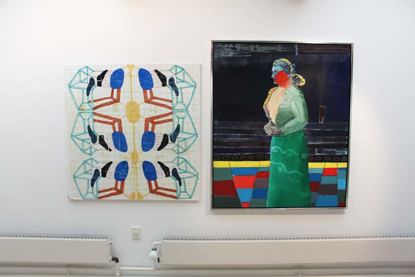 """Marie J. Engelsvold: (to the left)""""New pattern"""" 100 x 100 cm. Paper, canvas, acrylic tusch, varnish. 2014.""""Ping-pong"""".  PAKHUSgalleriet. 2014 Nykøbing Sj.Denmark"""