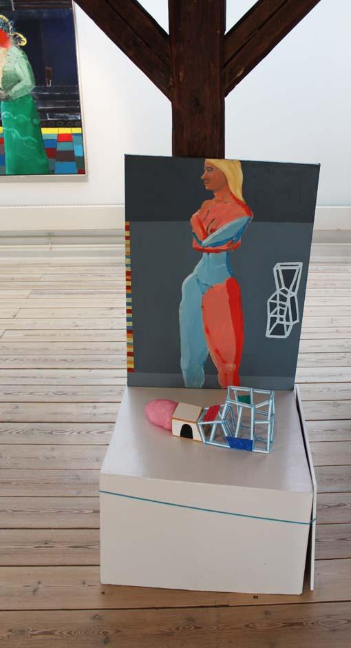 "Marie J. Engelsvold: (sculpture) ""Mind set"" 17 x 42 x 9 cm. Wood, textile, acrylic tusch, paper, paver pol. woodpidestal. 2013.  ""Ping-pong"".  PAKHUSgalleriet. 2014 Nykøbing Sj.Denmark"