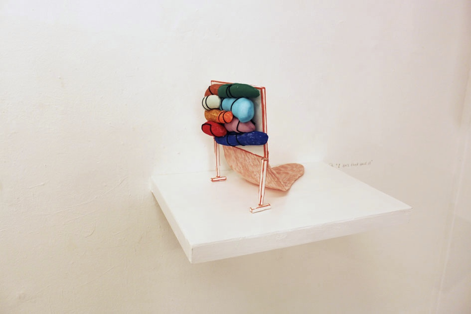 """I don't think about it"" 31 x 50 x 35 cm. Textileobjects, wood, woodsticks, textile, acrylic tusch, shelve.2014. ."