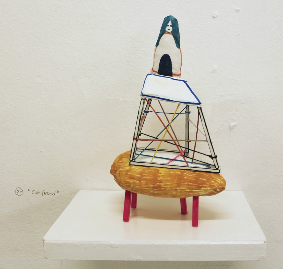 """Confused"" 42 x 39 x 25 cm. Wood, woodsticks, textileobjects, acrylic tusch, shelve. 2014 -"