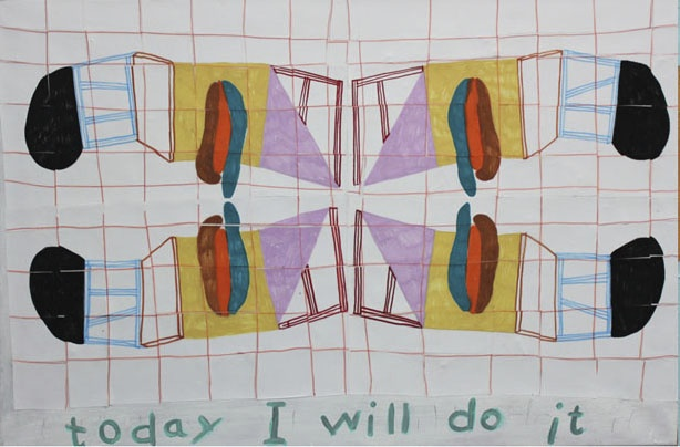 """ Today i will do it"" 50 x 75 cm. Canvas, paper, acrylic tusch. 2014."
