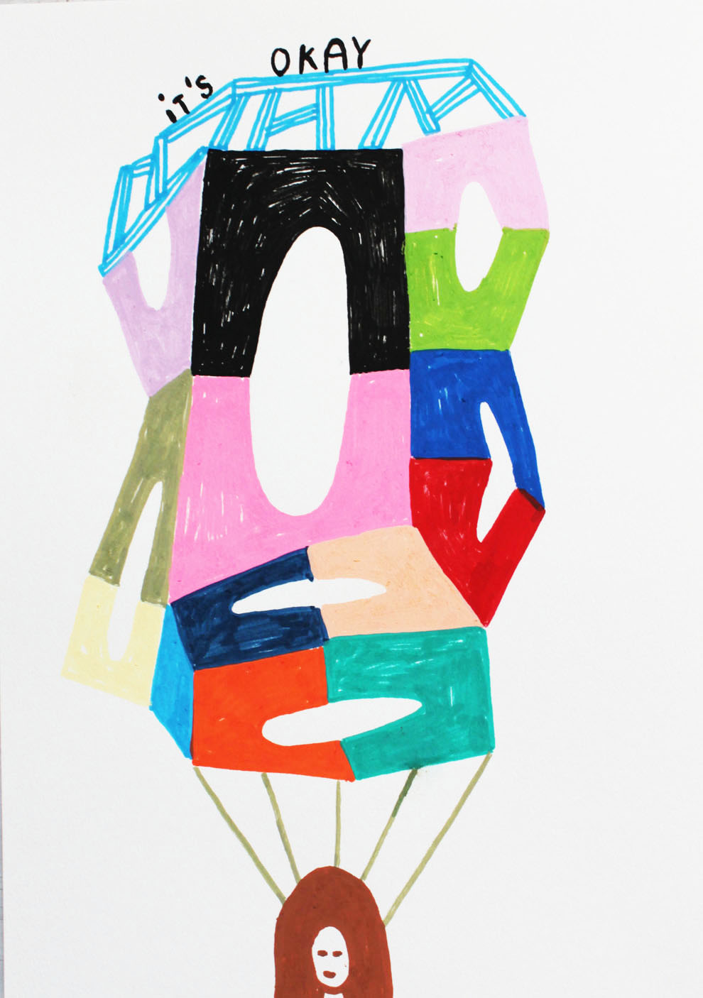 """It's okay""Acrylic tusch on paper.29,7 x 21 cm.2014. (sold) -"