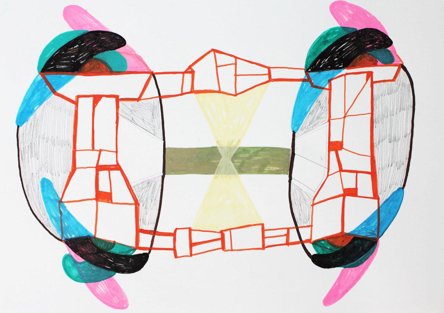 """Bridging the gap""Acrylic tusch on paper.29,7 x 42 cm.2015 -"