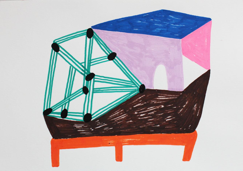 """Tension""Acrylic tusch on paper.21x 29,7 cm.2014 -"