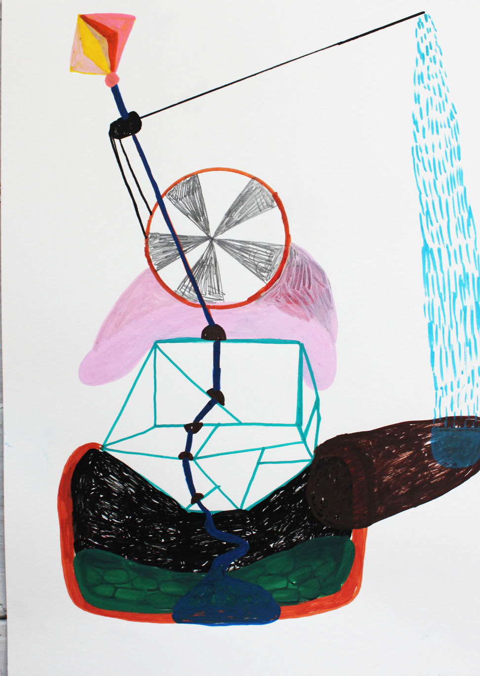 """Reaction""Acrylic tusch on paper.42 x 29,7 cm.2014 -"