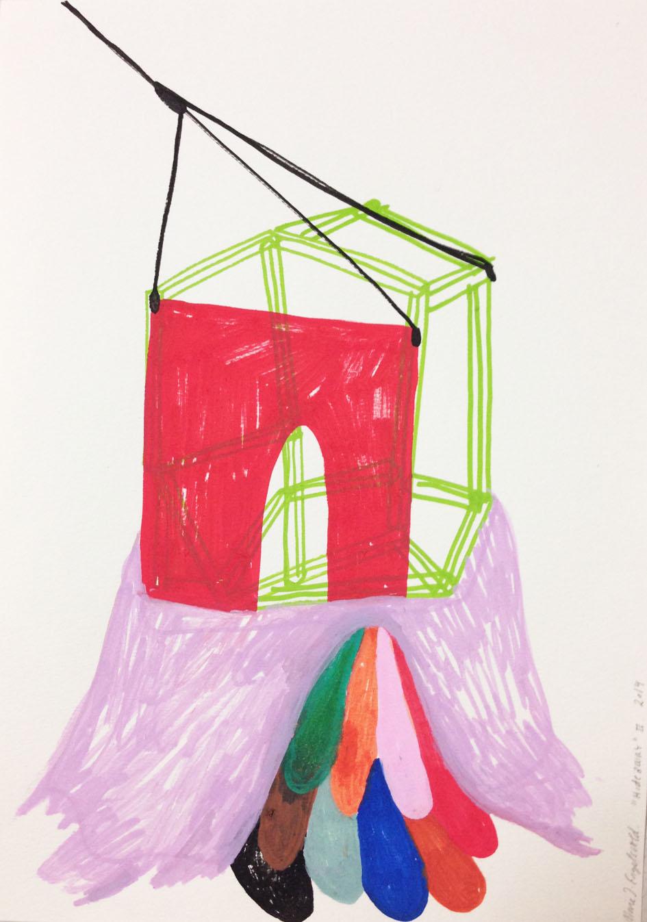 """""""Hideaway ll""""Acrylic tusch on paper.29,7 x 21 cm.2014 -"""
