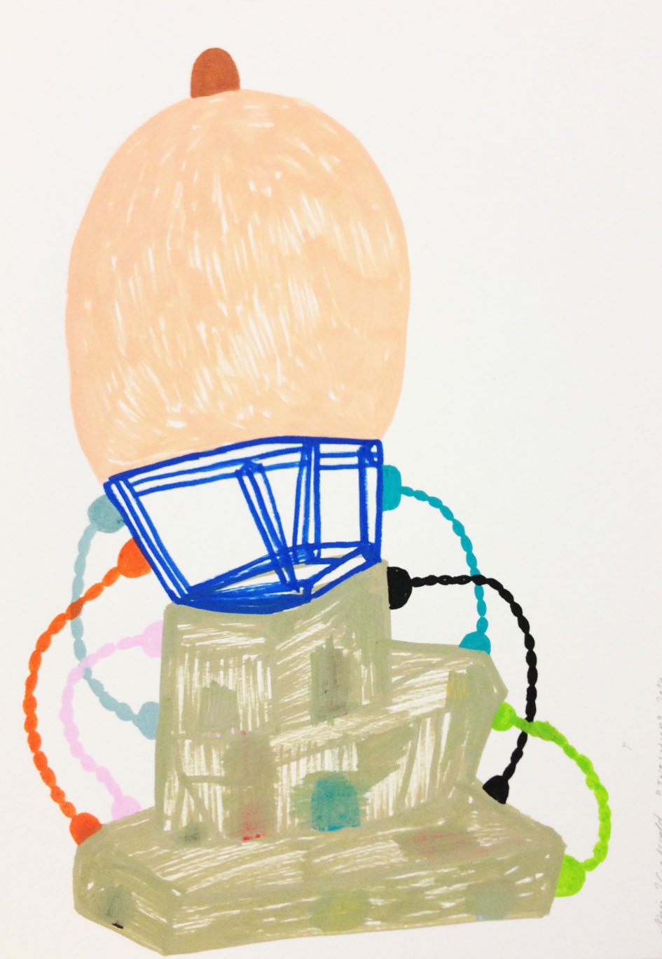 """""""Inflation""""Acrylic tusch on paper.29,7 x 21 cm.2014 -"""