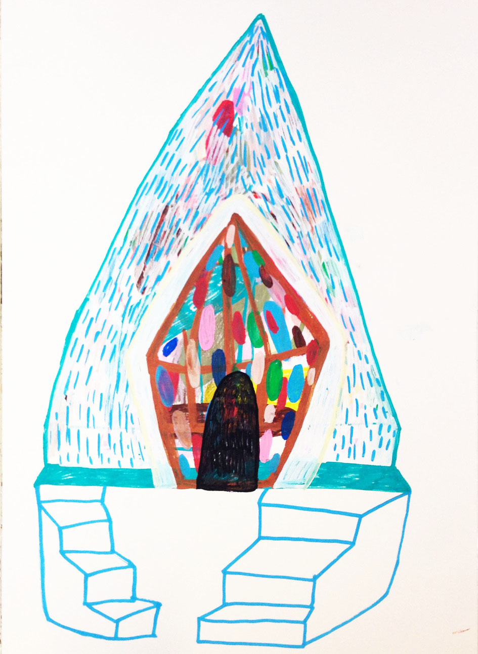 """""""Lokking inside this mental tent""""Acrylic tusch on paper.42 x 29,7 cm.2014 -"""