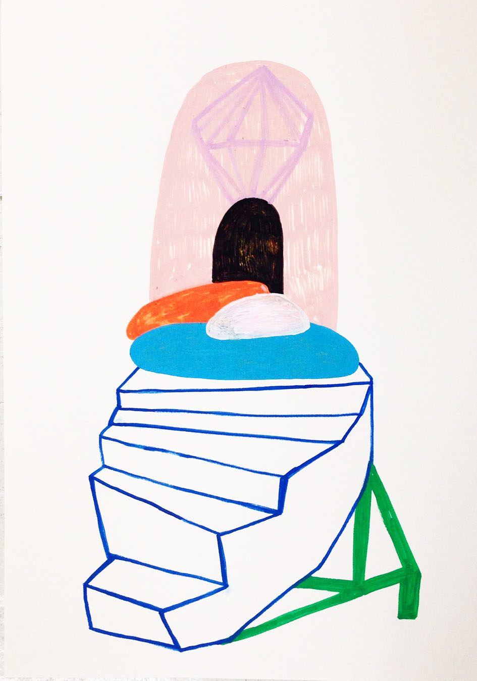 """""""My lost staircase""""Acrylic tusch on paper.42 x 29,7 cm.2014 -"""