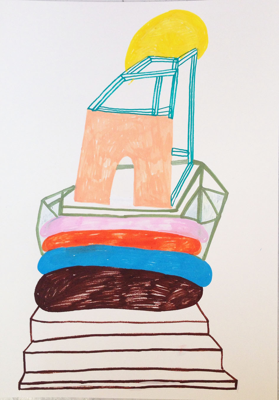 """""""Another viewpoint""""Acrylic tusch on paper.42 x 29,7 cm.2014 (sold) -"""