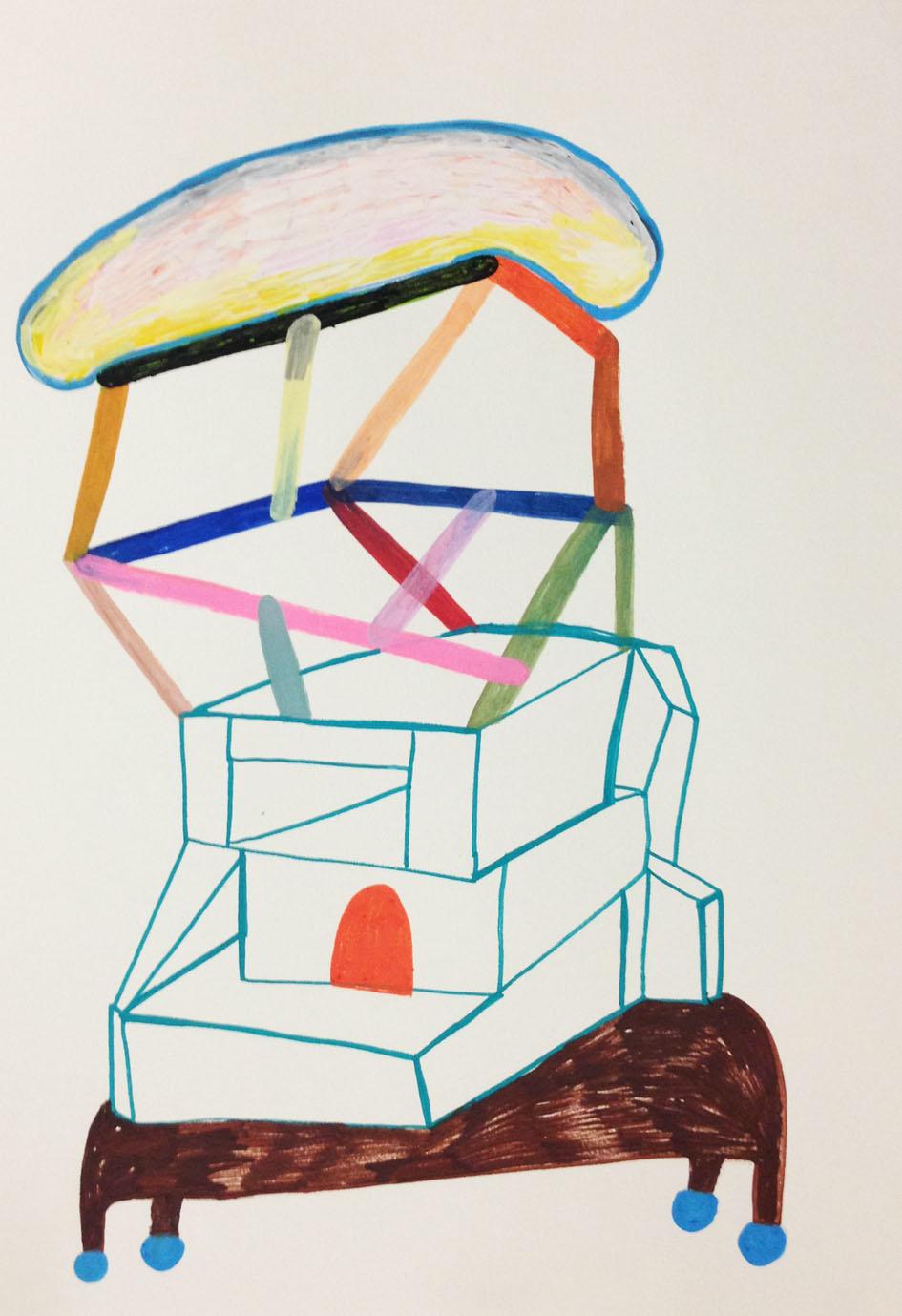 """Mental construction on skates""Acrylic tusch on paper.42 x 29,7 cm.2014 -"