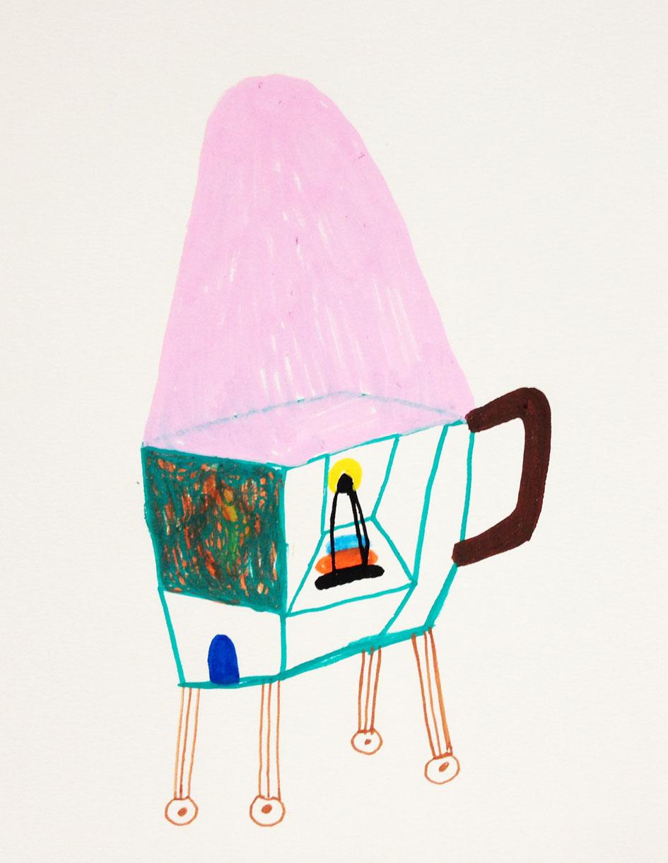 """My luggage""Acrylic tusch on paper.29,7 x 21 cm.2014 (sold) -"