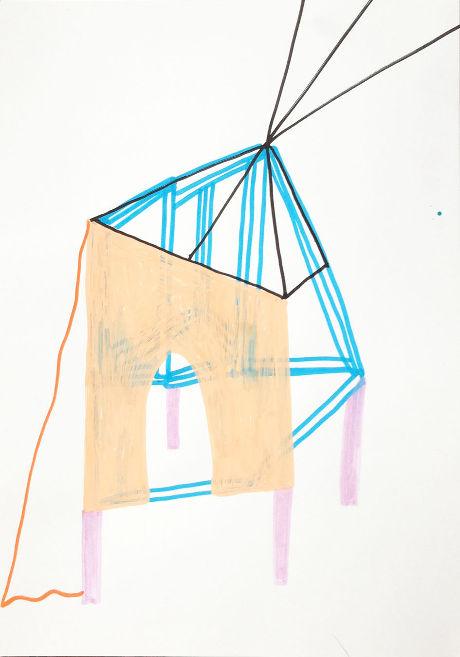"""""""My shelter""""Acrylic tusch on paper.29,7 x 21 cm.2014 -"""