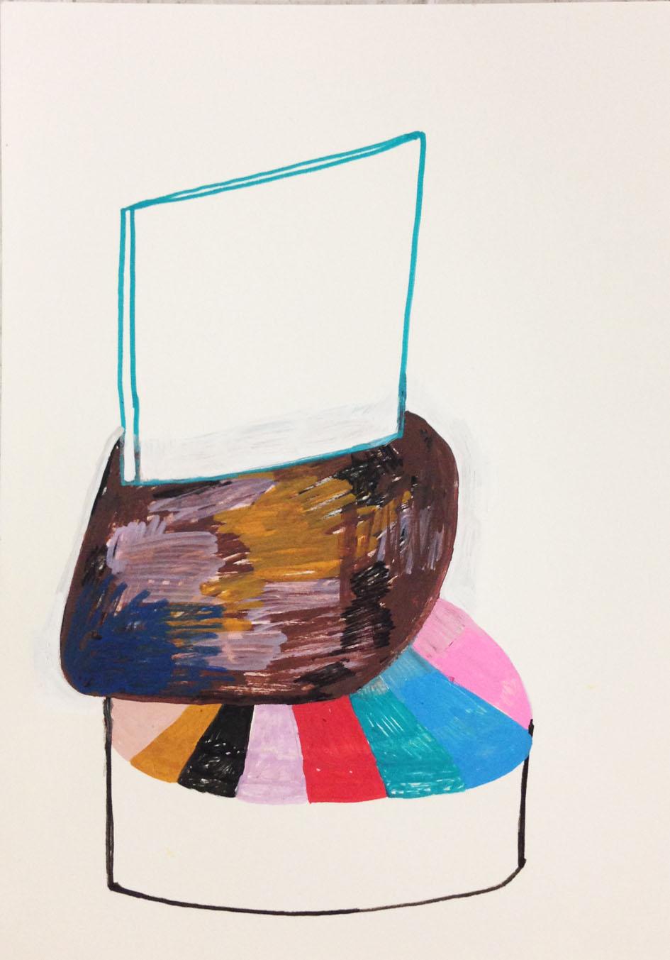 """On the edge""Acrylic tusch on paper.29,7 x 21 cm.2014 -"