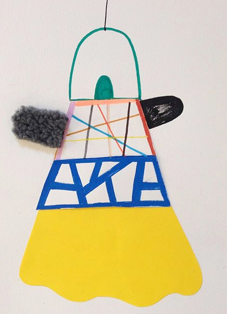 """Dancing queen""   Acrylic tusch,textile and papercuts on paper. 2  9,7 x 21 cm. 2  015 (sold)"
