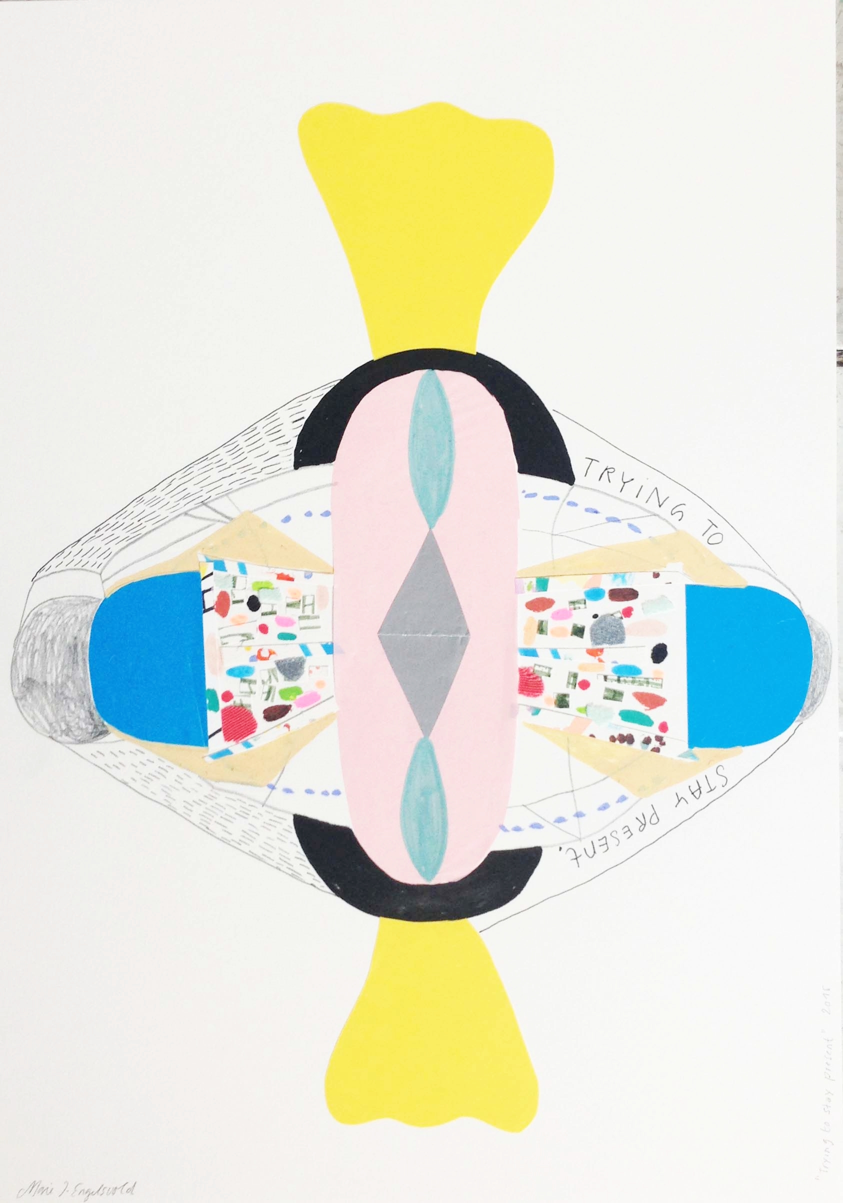 "Marie J.Engelsvold. ""Trying to stay present"" 42 x 29,7 cm. acrylic markers, paper cuts and pencil on paper. 2015."