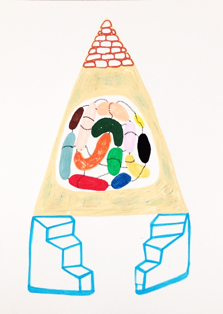 """Potentials inside mental tent"" Acrylic tusch on paper. 42 x 29,7 cm. 2015."