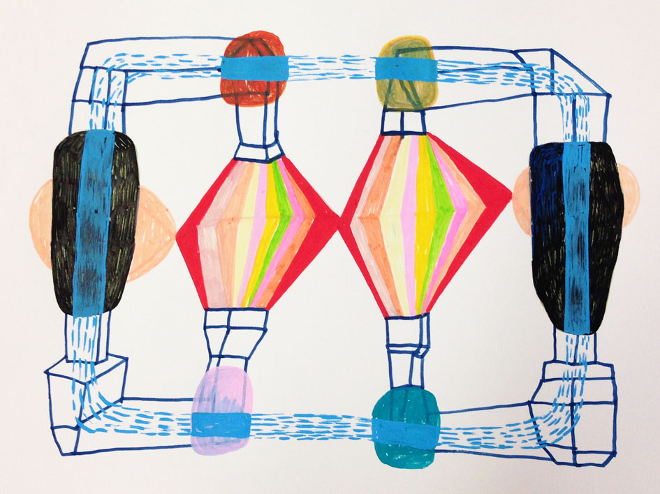 """""""Relationship with outlets for magic""""  Acrylic tusch on paper.  21 x   29,7 cm.  2014"""