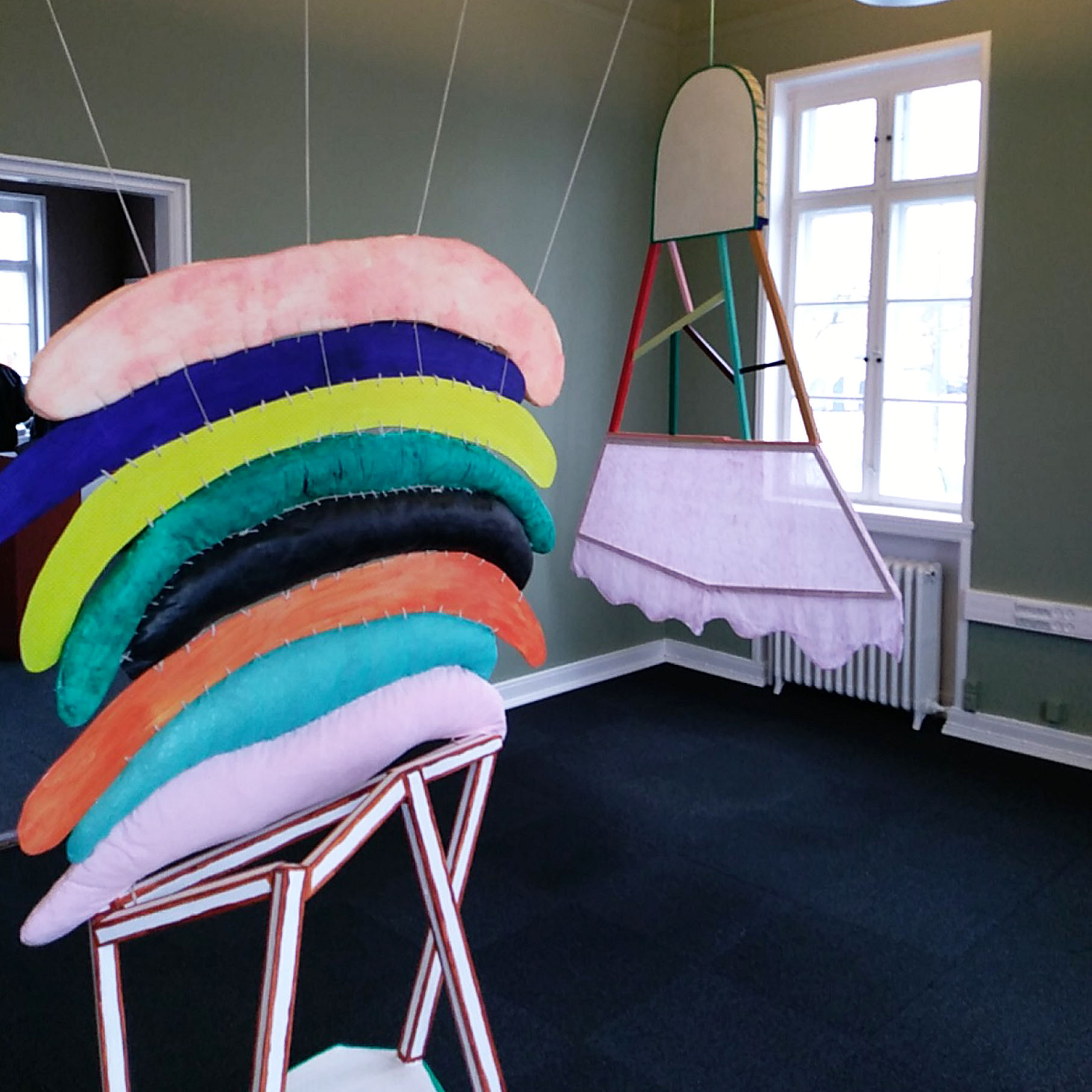 """Marie J.Engelsvold. """"I don't mind the gap""""   """"Holding on to happiness"""" Wood, stuffed textile objects, acrylic paint, foam, yarn. 190 x 97 x 67 cm. 2013"""