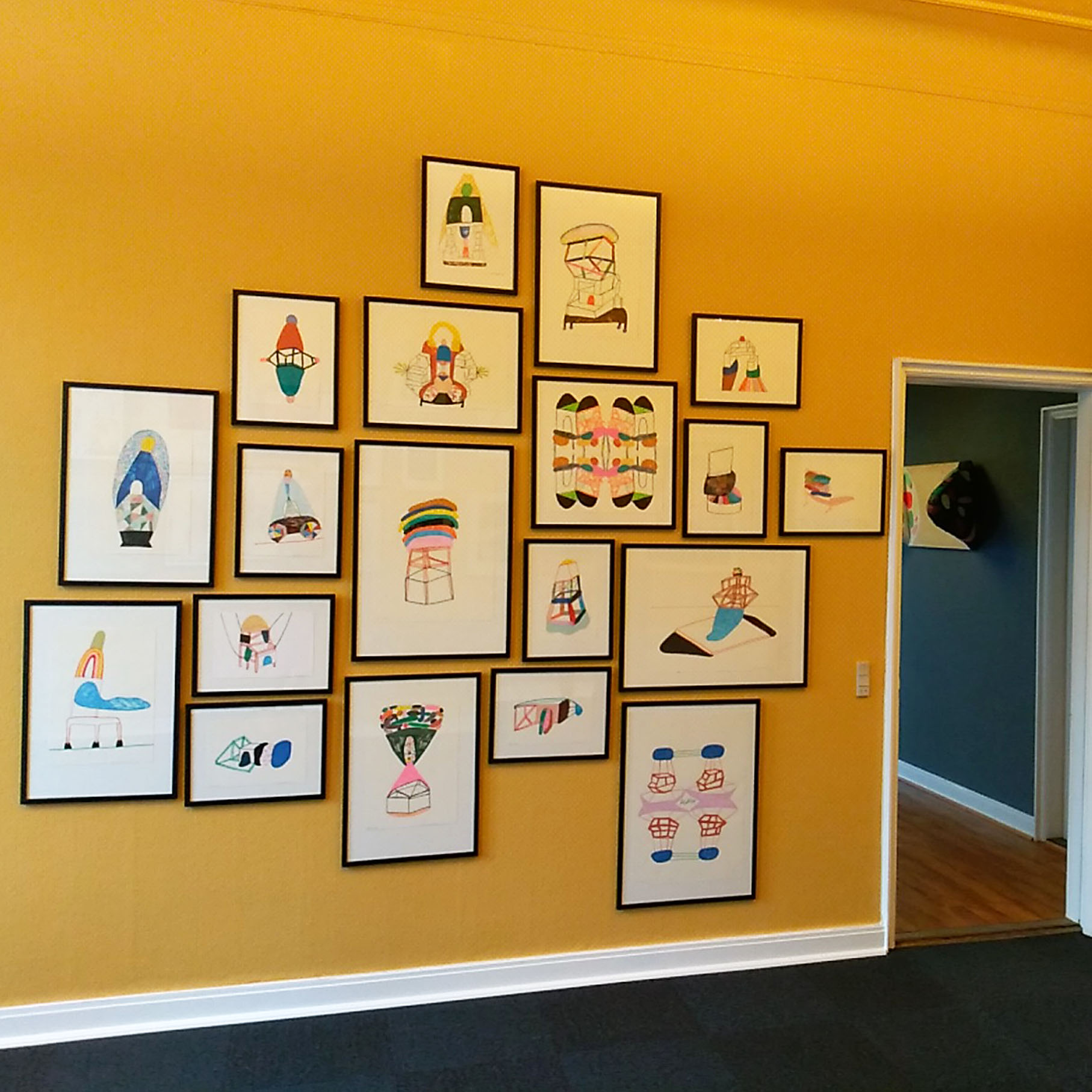 """Marie J.Engelsvold. """"I don't mind the gap""""   Wall with drawings."""
