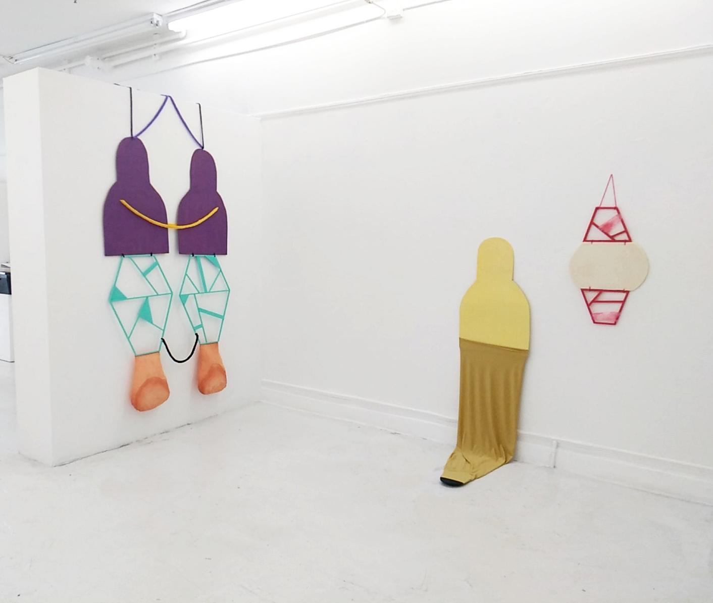 """Mirror self""  Yarn, wood, textile.  ""Lightbody""  Wood, textile.  ""Expanding in silence""  Wood, foam, textile, yarn. Swim Gallery. San Francisco. 2018"