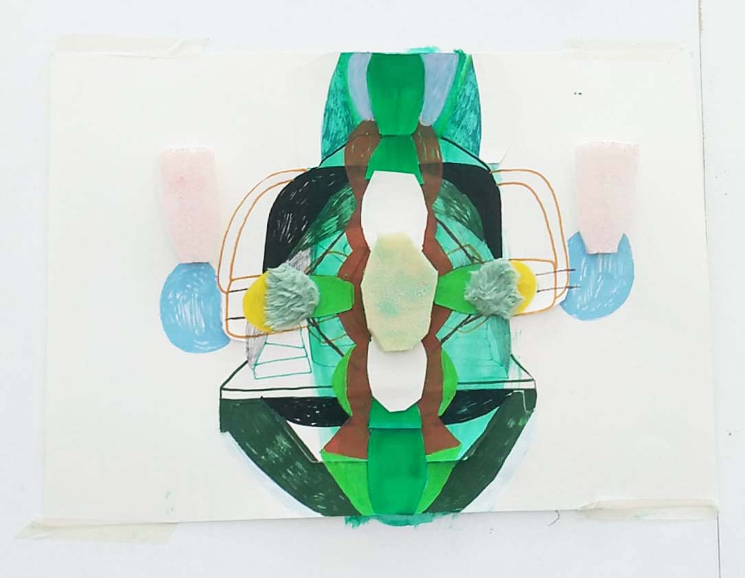 "Marie J.Engelsvold. ""Green portal"" 42 x 59 cm. Acrylics, paper cuts, textile, pencil and foam on paper. 2019."