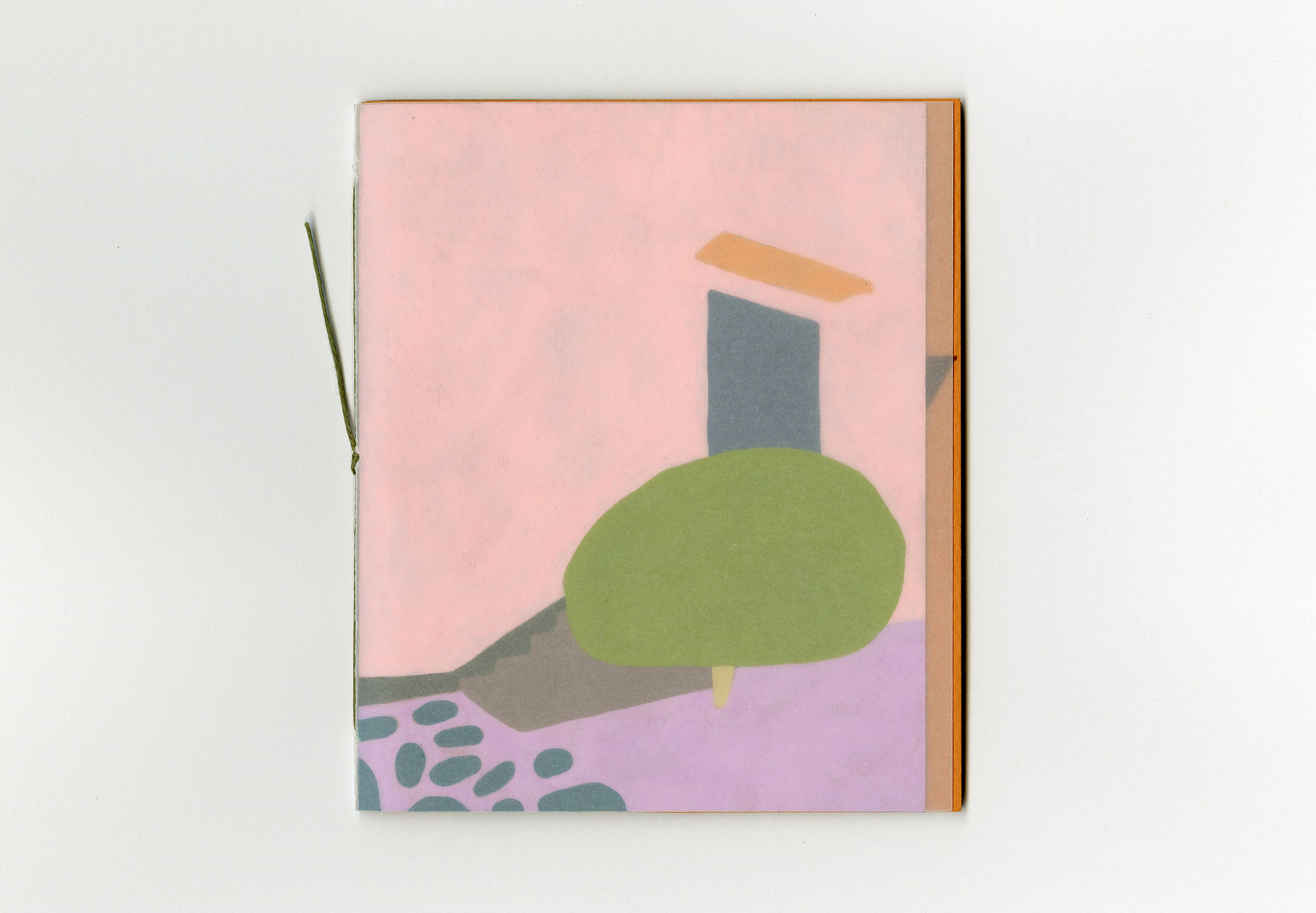 """A book for my dear friend  Kelsey  on her birthday, little paintings of some of her topiary photos taken in San Francisco's charming and beautifully stuccoed Outer Sunset neighborhood. 4x5"""", gouache on paper, 2019."""