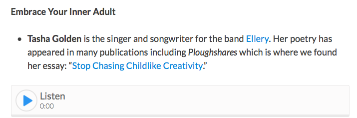 New Hampshire Public Radio - NHPR interviewed Tasha in 2014 about her piece for Ploughshares -- and why Tasha had argued that idealizing childhood may be problematic. You can hear the interview here! (Scroll down to the segment.)