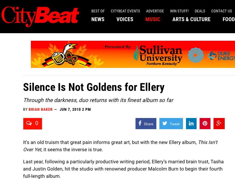 CityBeat + Ellery - CityBeat published a feature story about Ellery's previous record, produced by Grammy-winner Malcolm Burn.