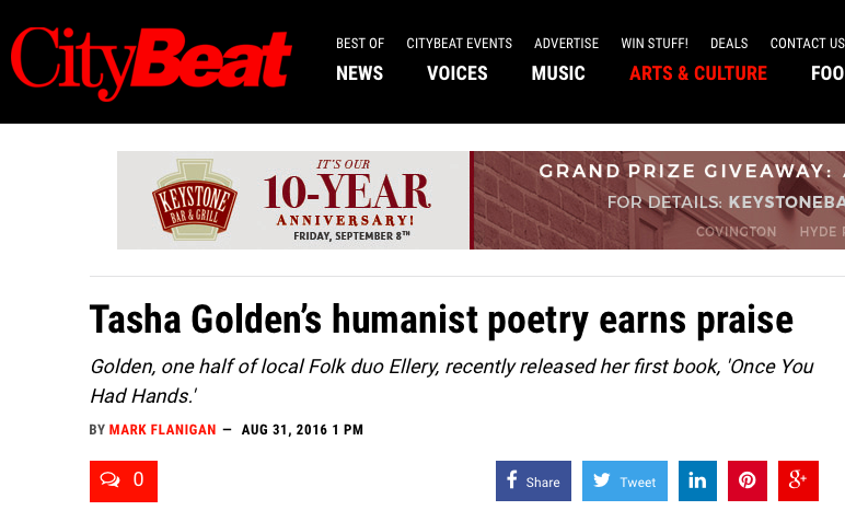 CityBeat + Poetry - CityBeat interviewed Tasha after Once You Had Hands was nominated for the 2016 Ohioana Book Award in Poetry.