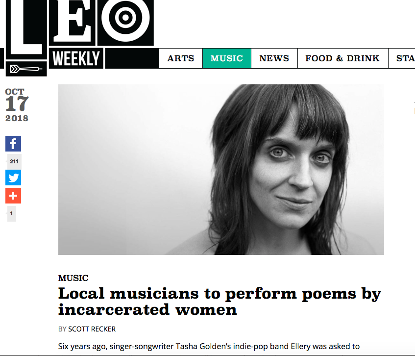 """LEO Weekly wrote about """"One Day I'll Rise""""  — an unprecedented concert event in which high-profile KY artists performed poems written by girls in Louisville's Youth Detention Services."""