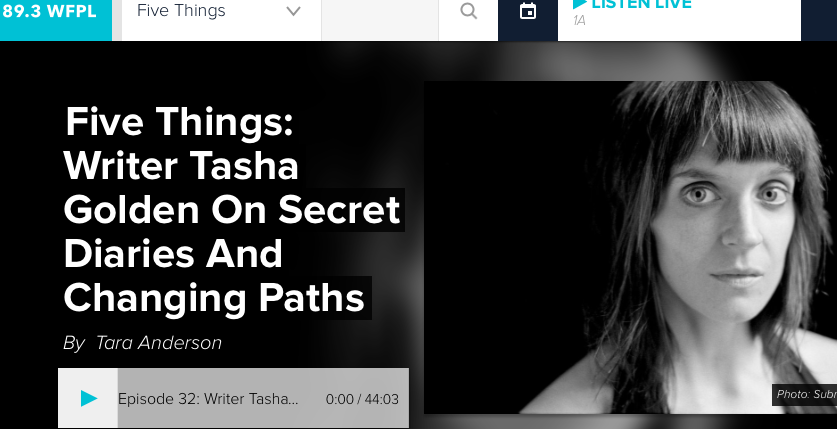 """I was a guest on """"Five Things,"""" in 2017, talking diaries, music, depression, and new paths. Click here to listen/read more !"""