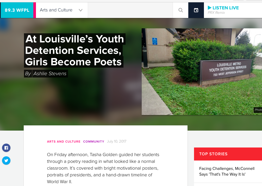 WFPL  wrote about our writing workshop  in Youth Detention Services.
