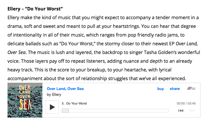 """LEO Weekly  gave Ellery's """" Do Your Worst """" their vote for best local songs in June 2017.  Read their writeup here , and  give the album a listen here !"""