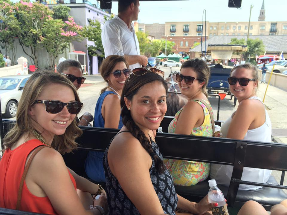 At my Bachelorette party in Charleston, my girls and I did a carriage tour!