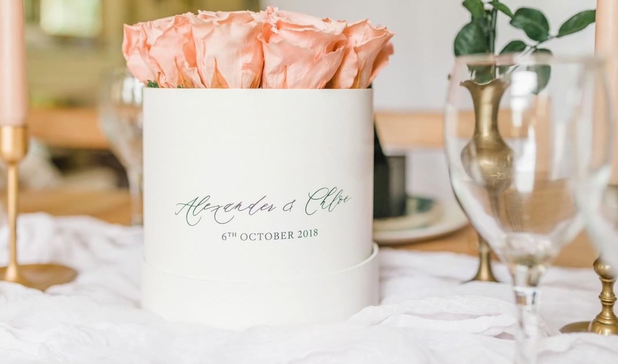 Peach corporate preserved roses.JPG