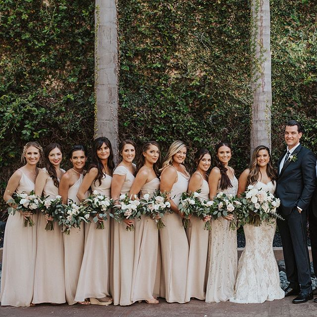 I like BIG bridal parties and I can not lie! .  But couldn't have done it without  @ellendevinehair handling all the girls with the thick hair like a BOSS!